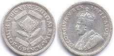old coin South Africa 6 pence 1927