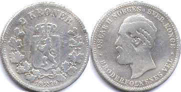 coin Norway 2 kroner 1878