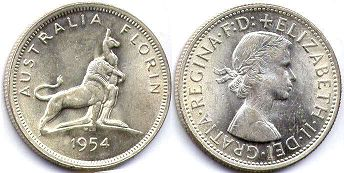 australian commemmorative coin 1 florin  1954