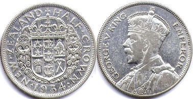 coin New Zealand 1/2 crown 1934