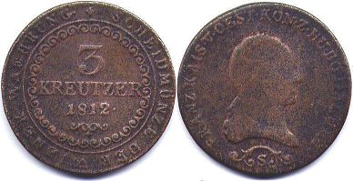coin Austrian Empire 3 kreuzer 1812