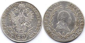 coin Austrian Empire 20 kreuzer 1821