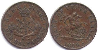 coin Upper Canada 1/2 penny 1850