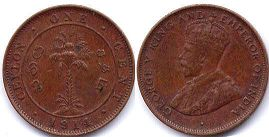 coin Ceylon 1 cent 1914