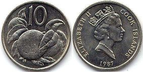 coin Cook Islands 10 cents 1987
