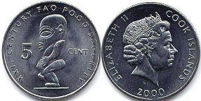coin Cook Islands 5 cents 2000