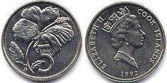 coin Cook Islands 5 cents 1992