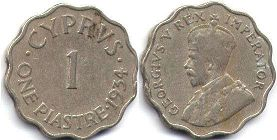 coin Cyprus 1 piaster 1934