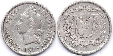 coin Dominican Republic 1/2 peso 1951