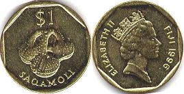 coin Fiji 1 dollar 1996