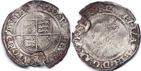 coin English old silver coin - Elizabeth I 6 pence