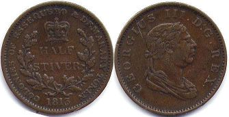 coin Essequibo and Demerara 1/2 stiver 1813
