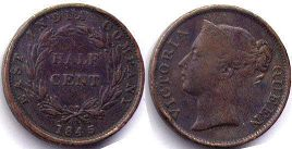 coin Straits Settlements 1/2 cent 1845