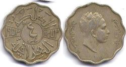 coin Iraq 4 fils 1953