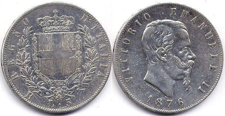 coin Italy 5 lire 1876