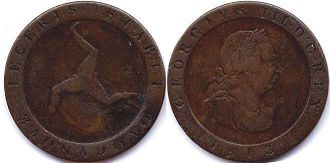 coin Isle of Man 1/2 penny 1813