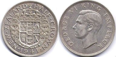coin New Zealand 1/2 crown 1941