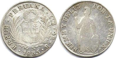 coin Peru 4 reales 1835
