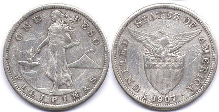 coin Philippines 1 peso 1907