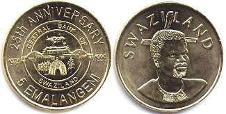 coin Swaziland 5 emalangeni 1999 Central Bank