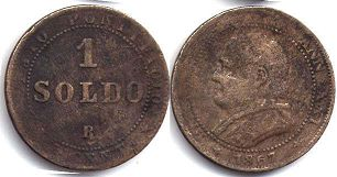 coin Papal State 1 soldo 1867