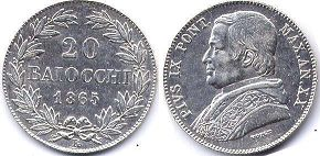 coin Papal State 20 baiocchi 1865