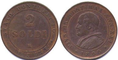 coin Papal State 2 soldi 1866