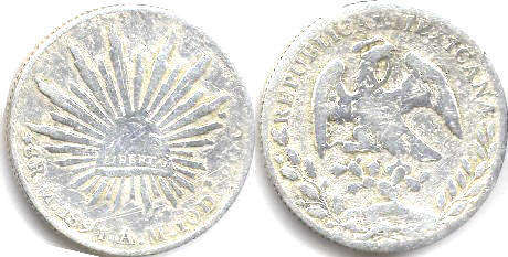 coin Mexico 8 reales 1891