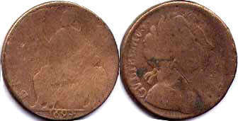coin English old half penny 1694