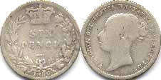 coin UK old coin 6 pence 1886