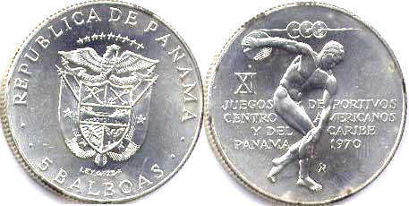 moneda Panama 5 balboas 1970