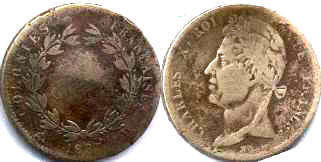 coin French Colonies 5 centimes 1827
