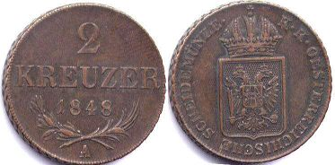 coin Austrian Empire 2 kreuzer 1848