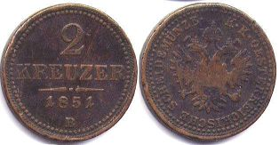 coin Austrian Empire 2 kreuzer 1851