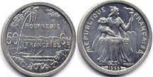 coin French Polynesia 50 centimes 1965