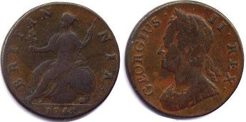 coin UK old coin half penny 1742