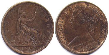 coin UK old coin 1 penny 1862