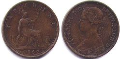 coin UK old coin farthing 1862