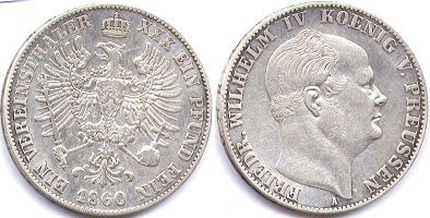 coin Prussia 1 taler 1860