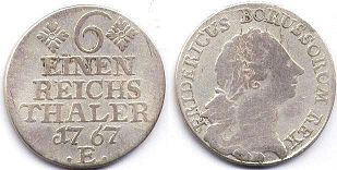 coin Prussia 1/6 taler 1767