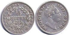 coin East India Company 1/4 rupee 1835