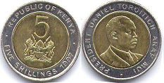 coin Kenya 5 shillings 1997