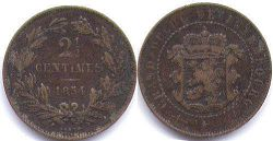 coin Luxembourg 2,5 centimes 1854