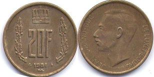 coin Luxembourg 20 francs 1981