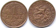 coin Curacao 1 cent 1947