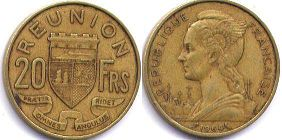 coin Reunion 20 francs 1964