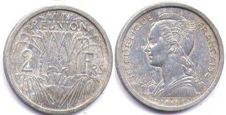 coin Reunion 2 francs 1949