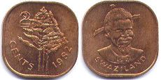 coin Swaziland 2 cents 1982