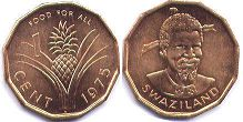 coin Swaziland 1 cent 1975