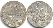 coin Poland 10 groszy 1840